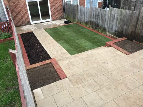 Completed landscaping project in Woodley